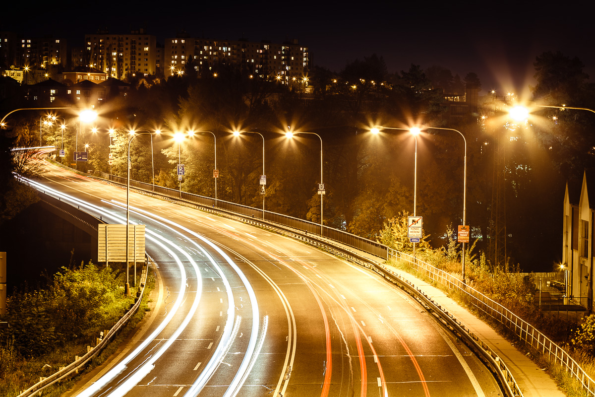 Night highway in Turnov