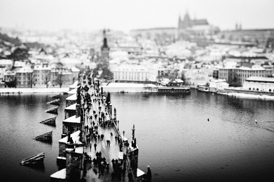 Prague tilt shift panorama from bridge tower