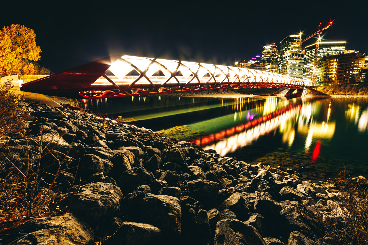 Peace bridge at night