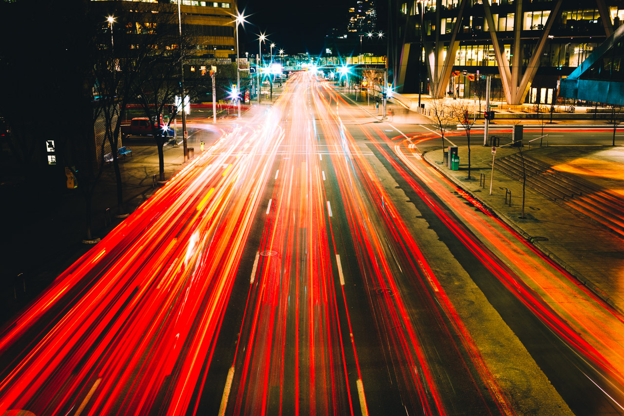 Night traffic in Calgary